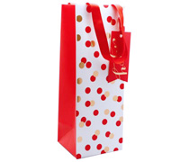 gift bag - bottle - confetti red/gold