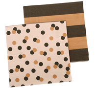 napkins - reversible 3ply - confetti black/gold stripe