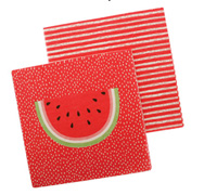 napkins - reversible 3ply - watermelon crush/stripe