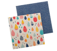 napkins - reversible 3ply - raindrops multi/royal blue