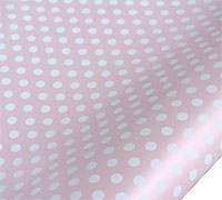 roll wrap - 5m pearlised spot pink/white - pack