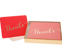 boxed thank you cards - cerise/gold