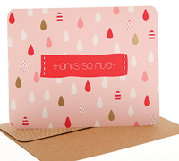 thank you cards - raindrops - pink